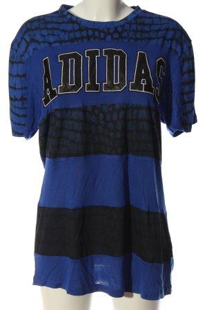 Adidas T-Shirt blau-schwarz Schriftzug gedruckt Casual-Look