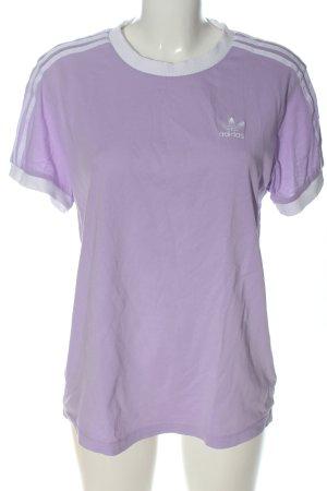 Adidas T-Shirt lila-weiß Motivdruck Casual-Look