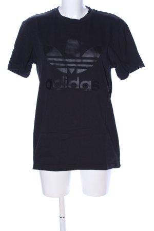 Adidas T-Shirt schwarz Schriftzug gedruckt Casual-Look