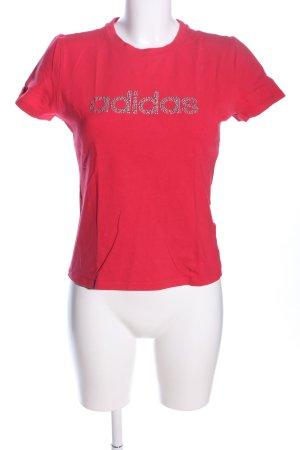 Adidas T-Shirt rot Schriftzug gedruckt Casual-Look