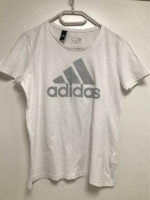 Adidas T-shirt wit-zilver