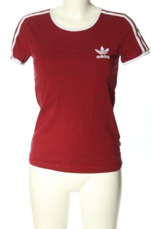 Adidas T-Shirt rot-weiß Motivdruck Casual-Look