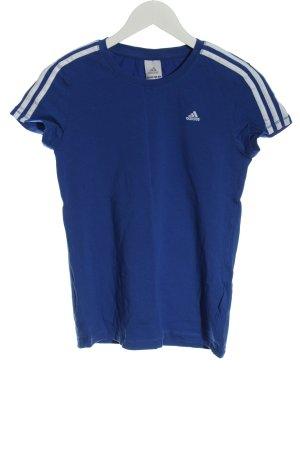Adidas T-Shirt blau-weiß Motivdruck Casual-Look