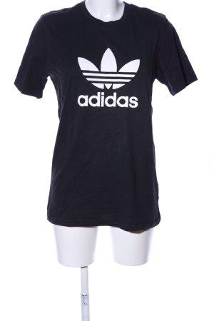 Adidas T-Shirt schwarz-weiß Motivdruck Casual-Look