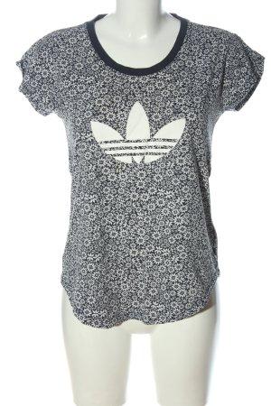 Adidas T-Shirt blau-weiß Allover-Druck Casual-Look