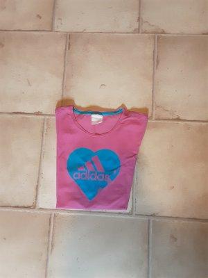 Adidas T-shirt roze-neon blauw