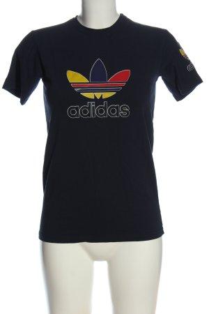 Adidas T-Shirt blau Schriftzug gedruckt Casual-Look