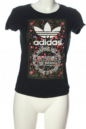 Adidas T-Shirt schwarz Motivdruck Casual-Look