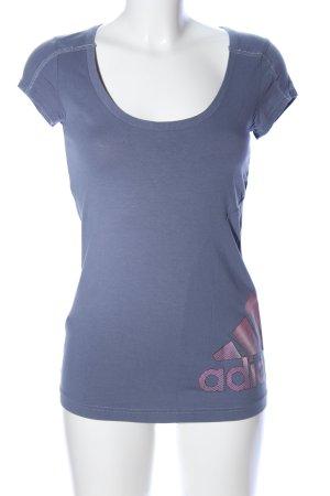 Adidas T-Shirt blau-pink Motivdruck Casual-Look