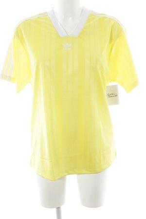 Adidas T-Shirt gelb-weiß Streifenmuster sportlicher Stil