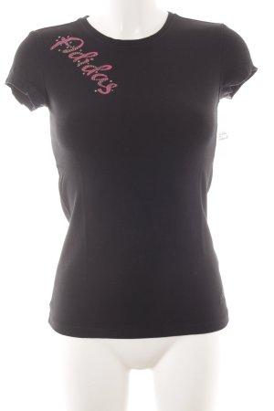 Adidas T-Shirt schwarz-pink Monogram-Muster sportlicher Stil