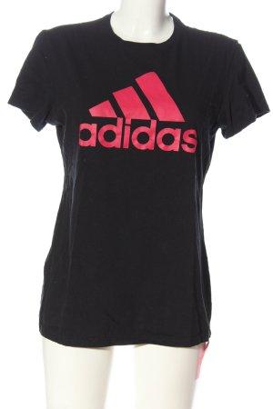 Adidas T-Shirt schwarz-pink Schriftzug gedruckt Casual-Look