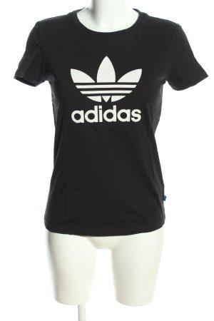 Adidas T-shirt noir-blanc imprimé avec thème style décontracté