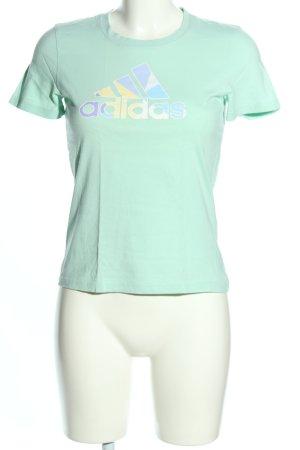 Adidas T-Shirt türkis Schriftzug gedruckt Casual-Look