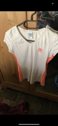 Adidas T-Shirt weiß mit Neon Orangen Streifen