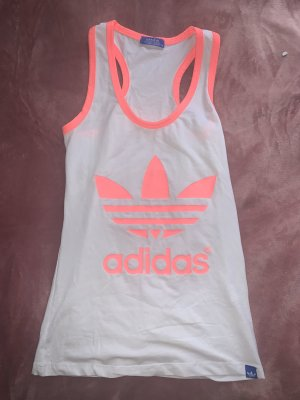Adidas Muscleshirt wit-lichtrood
