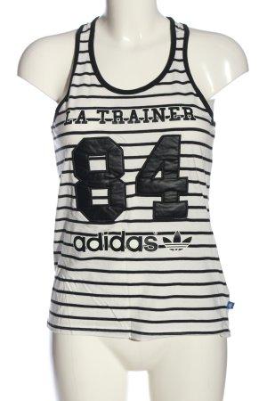 Adidas Top met spaghettibandjes wit-zwart gedrukte letters casual uitstraling