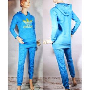Adidas Tailleur pantalone blu neon Cotone