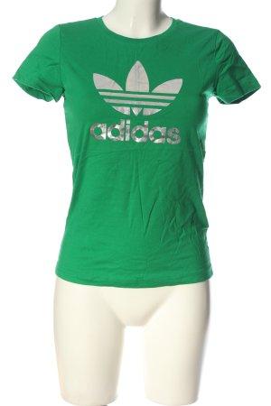 Adidas T-Shirt grün Schriftzug gedruckt Casual-Look