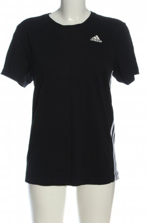 Adidas T-shirt nero caratteri stampati stile casual