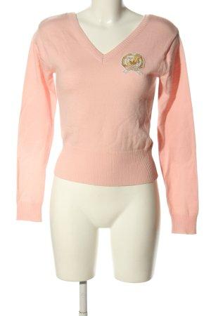 Adidas V-Ausschnitt-Pullover pink Schriftzug gestickt Casual-Look