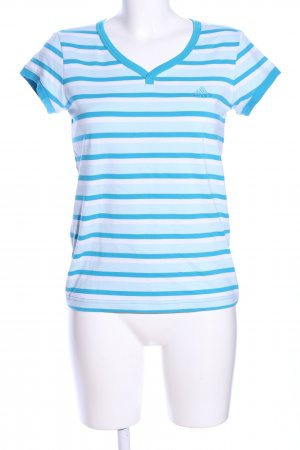 Adidas V-Ausschnitt-Shirt weiß-blau Streifenmuster Casual-Look