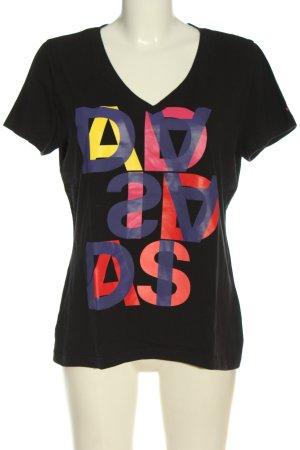 Adidas V-Ausschnitt-Shirt Schriftzug gedruckt Casual-Look