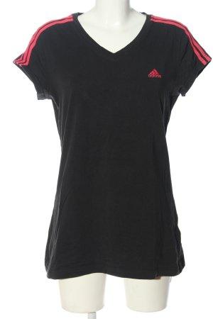 Adidas Maglia con scollo a V nero-rosa motivo a righe stile atletico