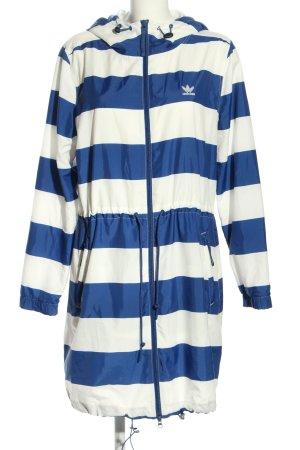 Adidas Windjack wit-blauw gestreept patroon casual uitstraling
