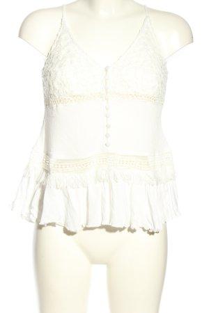 adl Top di merletto bianco stile casual