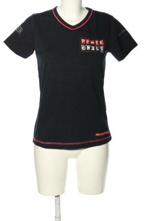 Adler T-shirt nero-rosso caratteri stampati stile casual