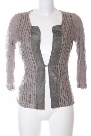 Adolfo Dominguez Cardigan pink-light grey striped pattern casual look