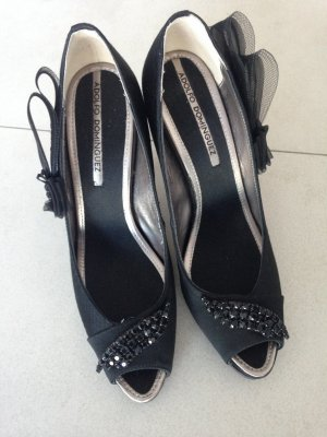 Adolfo Dominguez Designer Glamour High Heels, Peep Toe, Pumps, 38, schwarz