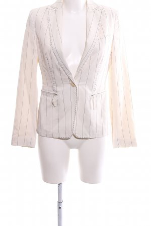 Adolfo Dominguez Short Blazer natural white-brown striped pattern business style