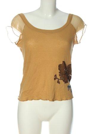 Adolfo Dominguez Chemise côtelée blanc cassé-brun motif de fleur