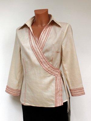 Adolfo Dominguez Kopertowa bluzka kremowy Len