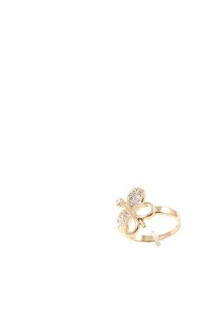 ADORE Złoty pierścionek złoto Nadruk z motywem W stylu casual