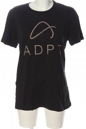 ADPT. T-shirt nero-bianco sporco caratteri stampati stile casual