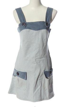 Adrett A-lijn jurk lichtgrijs-blauw gestippeld patroon casual uitstraling