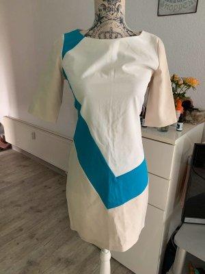 Adrettes FIGL Midi-Kleid - Beige/White/Türkis - Größe S 34/36 - Shirt-Ärmel