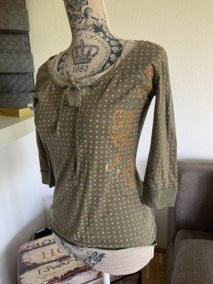 Adrettes Shirt - FreeSoul - Khaki/Orange - Größe M 36/38 - gepunktet!
