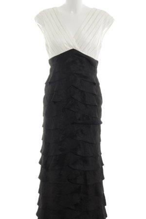 Adrianna Papell Avondjurk wit-zwart gestreept patroon feest stijl