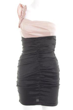 Adrianna Papell Vestido de un hombro negro-nude elegante