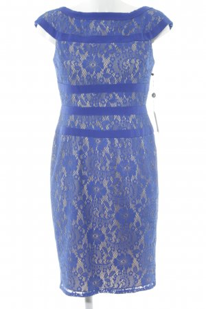 Adrianna Papell Vestido de encaje azul-crema elegante