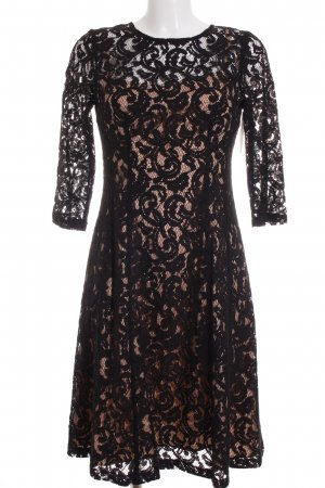 Adrianna Papell Vestido de encaje negro-beige elegante