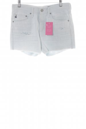 Adriano Goldschmied Denim Shorts pale blue Logo application (leather)