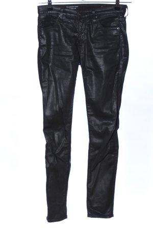 Adriano Goldschmied Pantalón de tubo negro look efecto mojado