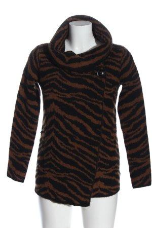Adrienne Vittadini Kardigan brązowy-czarny Zwierzęcy wzór W stylu casual