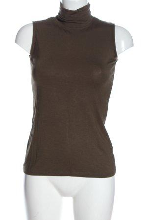 Adrienne Vittadini Top con colletto arrotolato marrone stile casual