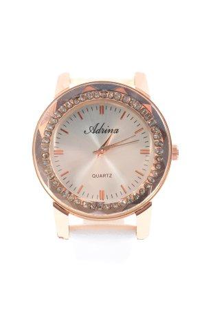 adrina Reloj analógico blanco-color oro estilo «business»